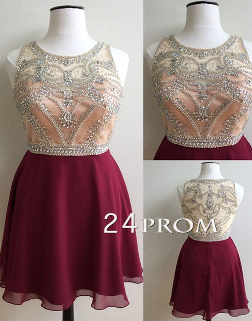 Cute A-line round neck sequin Burgundy short prom dress, homecoming dress