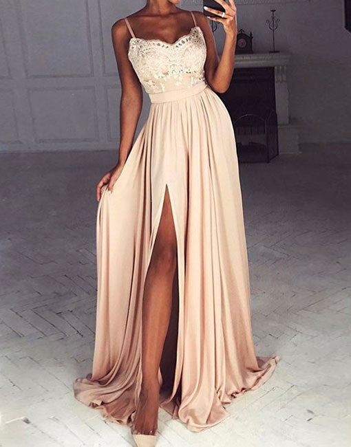 Champagne Chiffon Lace Long Prom Dress Champagne Evening -1861