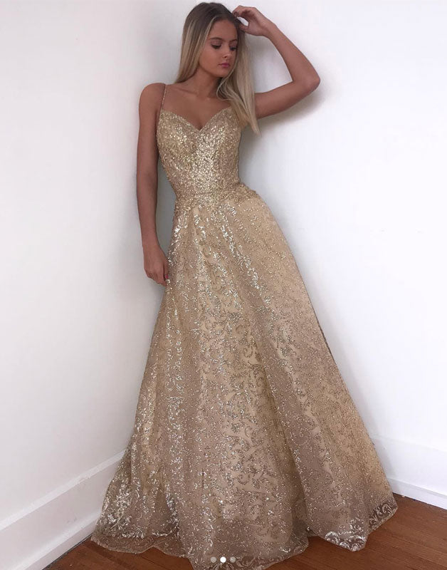 Gold sequin tulle long prom dress, evening dress