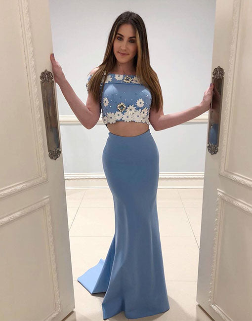 Blue two pieces mermaid long prom dress, blue evening dress