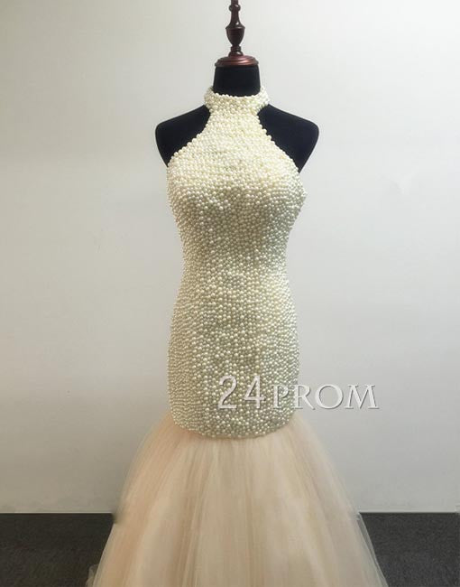 Custom made champagne tulle backless long prom dresses, evening dress