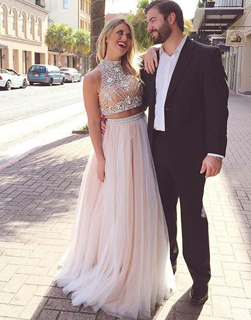Champagne Tulle beaded 2 Pieces Long Prom Dresses, Formal Dresses