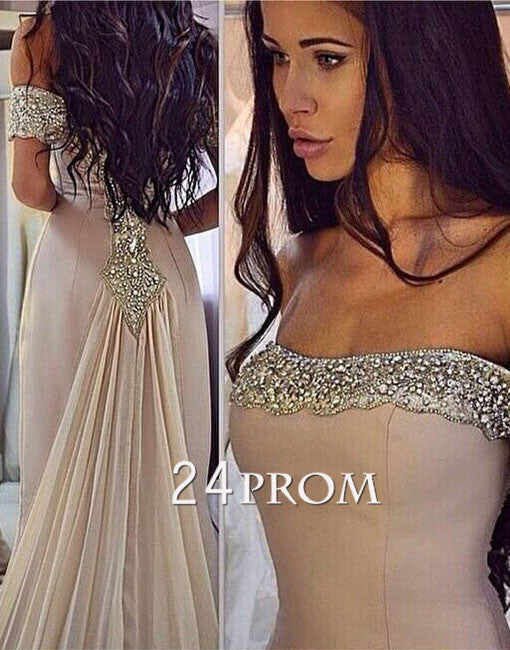 Custom made champagne sequin long prom dress, evening dress