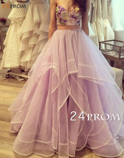Custom Size 2 Pieces Ruffled Embroidery Tulle Long Prom Dresses, Formal Dress