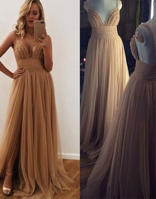 champagne tulle long prom dress, tulle evening dress for teens