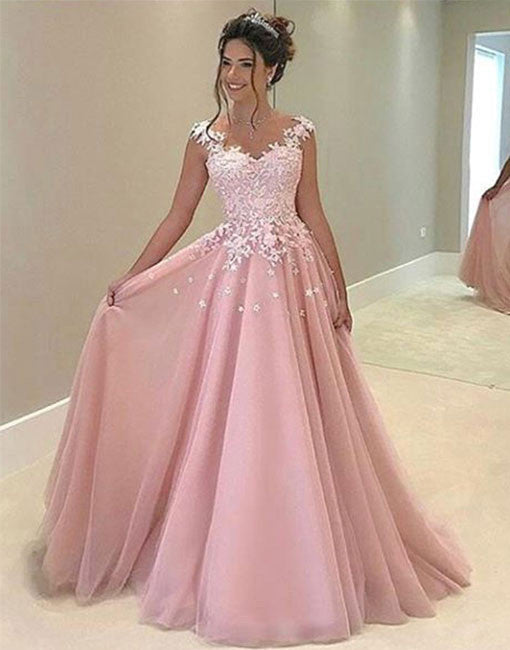 Pink chiffon lace prom dress, pink evening dress, formal dress