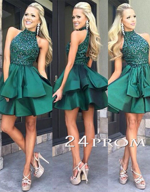 Green high neck sequin beaded short prom dress, cute homecoming dress