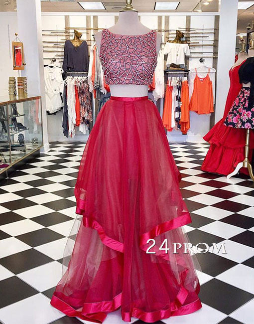 Red round neck sequin two pieces long prom dress, evening dress
