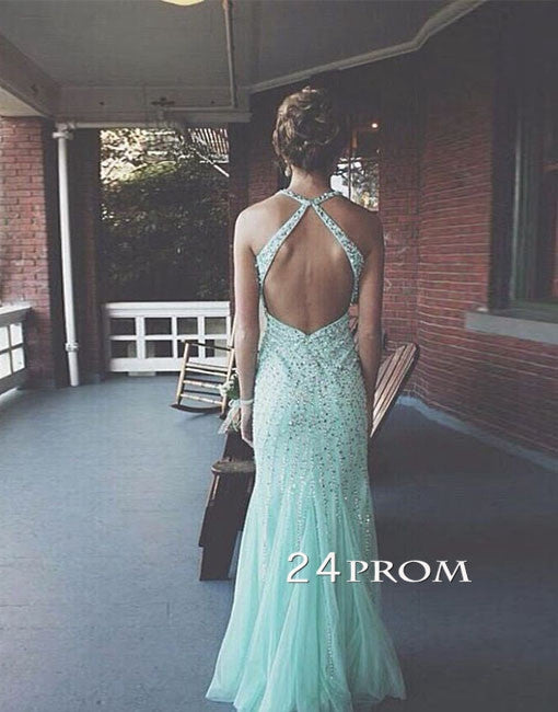 Tulle Sequin Backless Long Prom Dresses, Formal Dresses