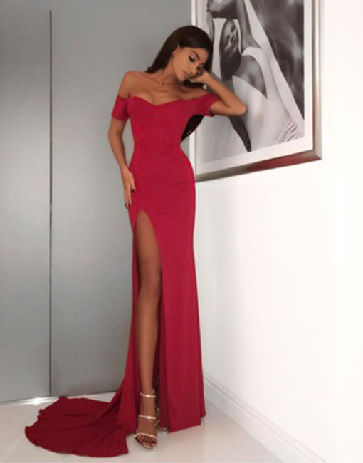 Simple red off shoulder long prom dress,