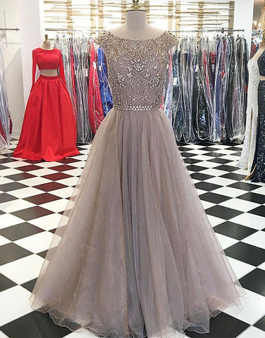 Unique round neck sequin long prom dress, evening dress