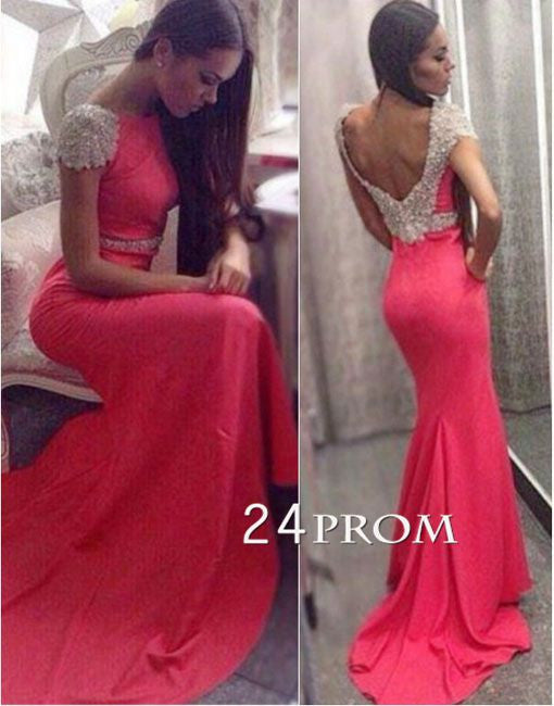 Coral Chiffon sequin cap sleeve Long Prom Dress, Formal Dresses
