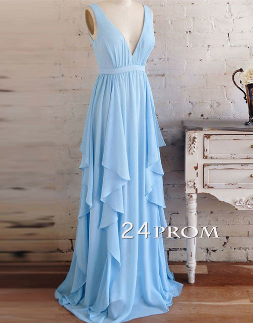 Blue v neck chiffon long prom dress, blue bridesmaid dress