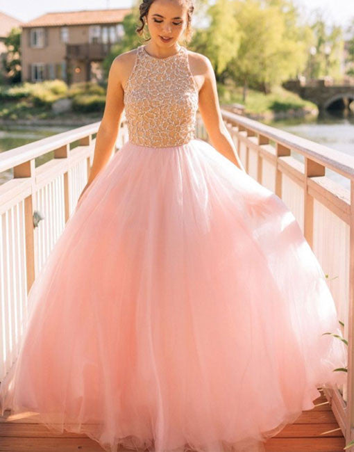 Pink round neck sequin long prom gown, pink evening dress