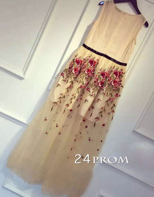 Retro three-dimensional flowers embroidered tulle long  dresses, party dress
