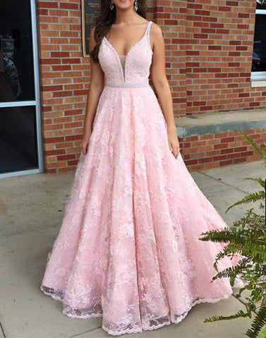 Pink v neck lace long prom dress, pink lace formal dress