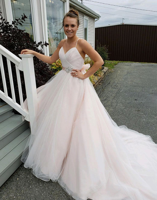 Simple sweetheart tulle long prom dress, tulle evening dress
