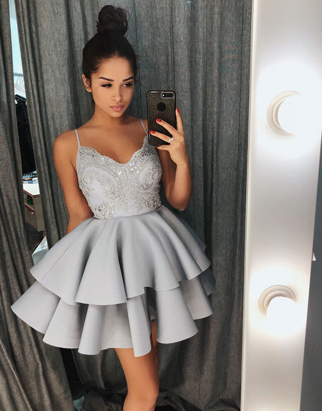 Gray lace short prom dress, gray lace homecoming dress