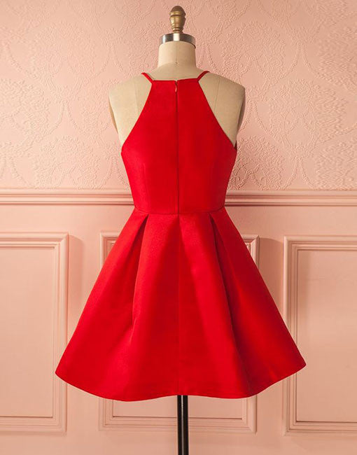 Simple red short prom dress, cute red homecoming dress