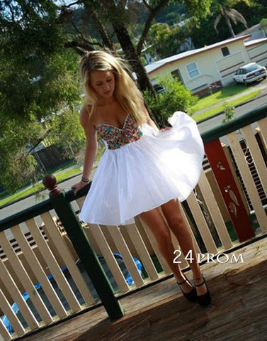 White A-line Sweetheart Short Prom Dresses,Homecoming Dress