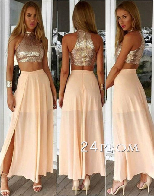 Champagne 2 Pieces Chiffon Sequined Long Prom Dress
