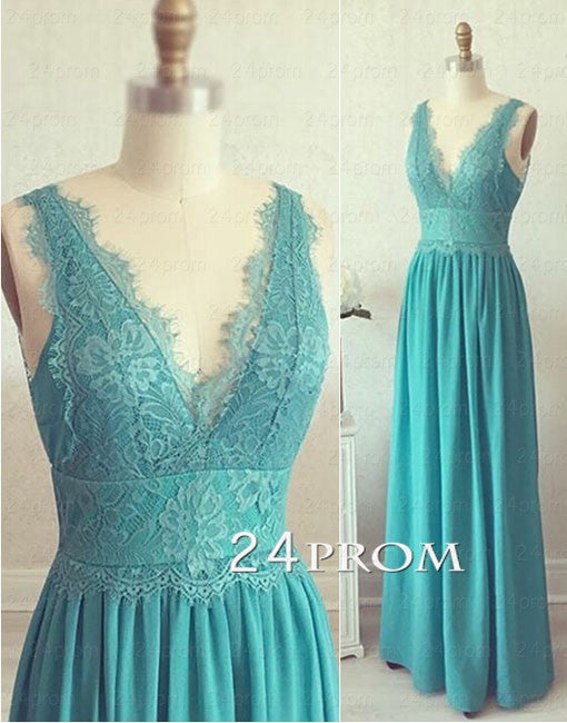 Green V neckline Lace Chiffon Long Prom Dresses, Bridesmaid Dress