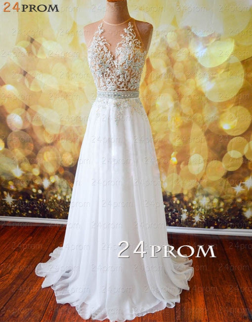 White A-line Lace Long Prom Dresses, Evening Dresses