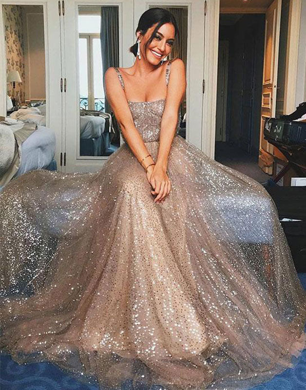 Champagne tulle sequin long prom dress, tulle evening dress