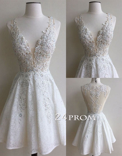 White v neck lace short prom dress, white homecoming dres