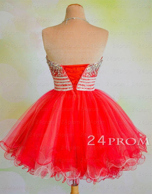 Red Sweetheart Sequin Ball gown Short Prom Dresses