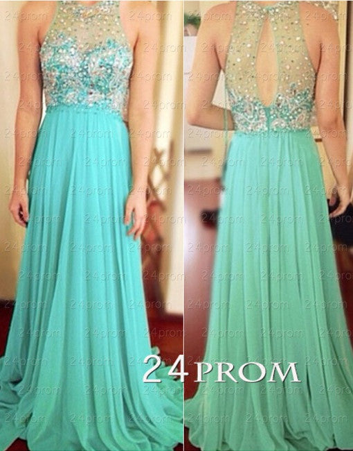 Green A-line Sequin Rhinestone Chiffon Long Prom Dress