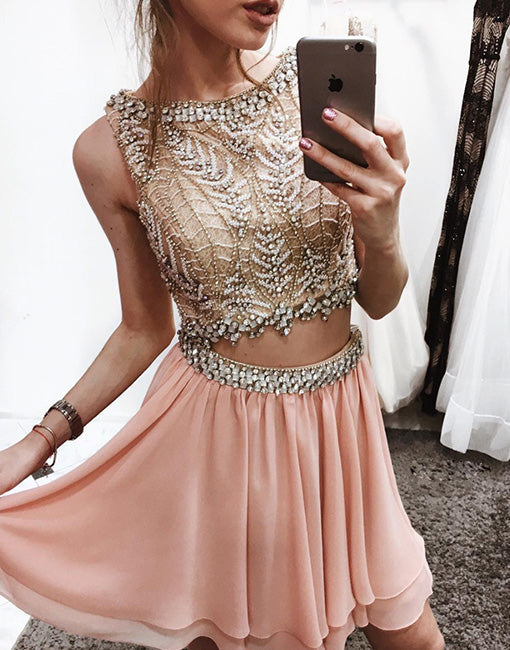 Unique pink two pieces sequin beads short prom dress, homecoming dress