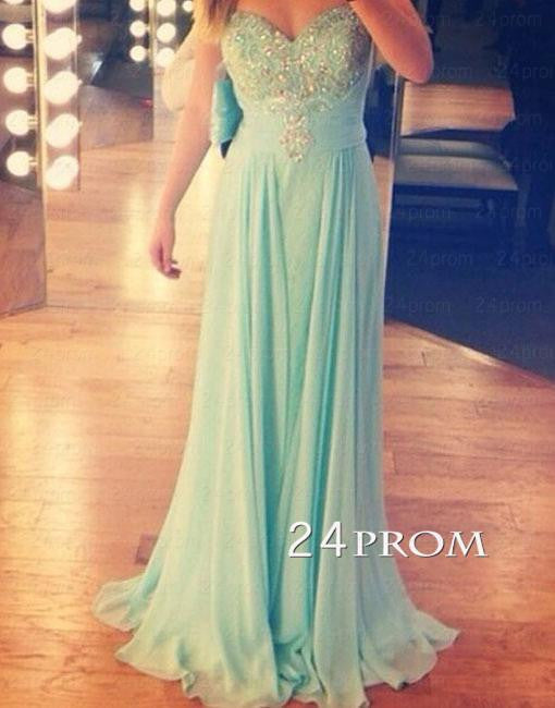 Sweetheart A-line Green Long Prom Dress,Formal Dresses