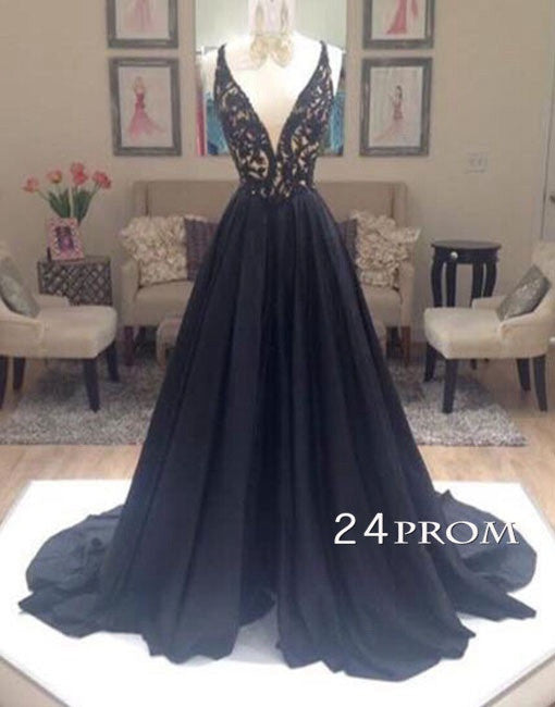 Black A-line V Neck Beads Long Prom Dress,Formal Dresses