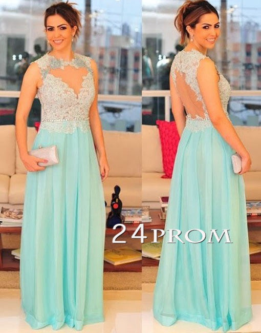 Light Green A-line Chiffon Lace Long Prom Dress, Evening Dresses