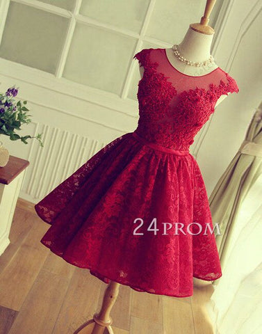 A-line round neck lace short red prom dress, bridesmaid dress