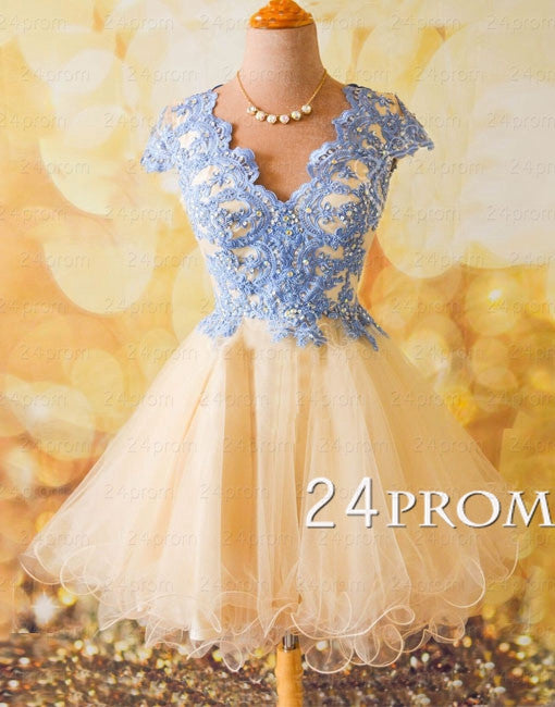 A-line Lace Tulle Short Prom Dresses, Homecoming Dress