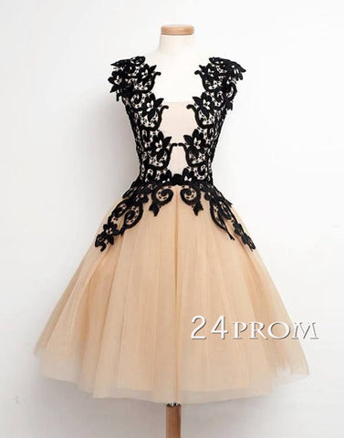 Vintage A-line Lace Tulle Short Prom Dress, Homecoming Dress