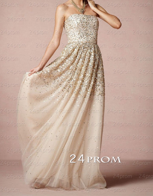 A-line Tulle Sweetheart Long Prom Dresses, Evening Dresses