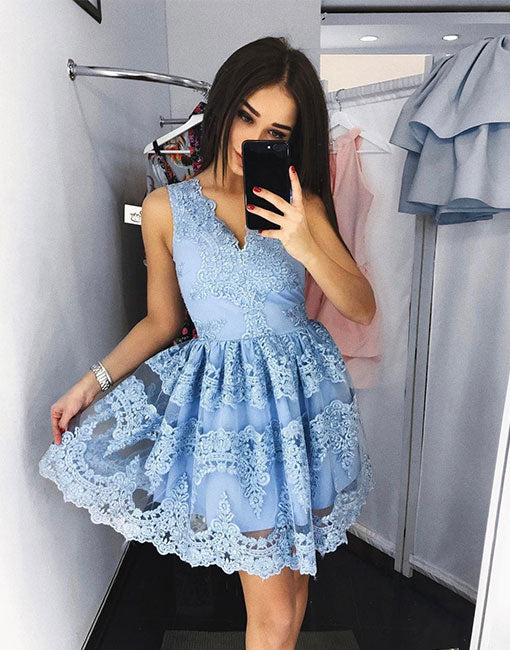 Cute v neck blue lace short prom dress, homecoming dress