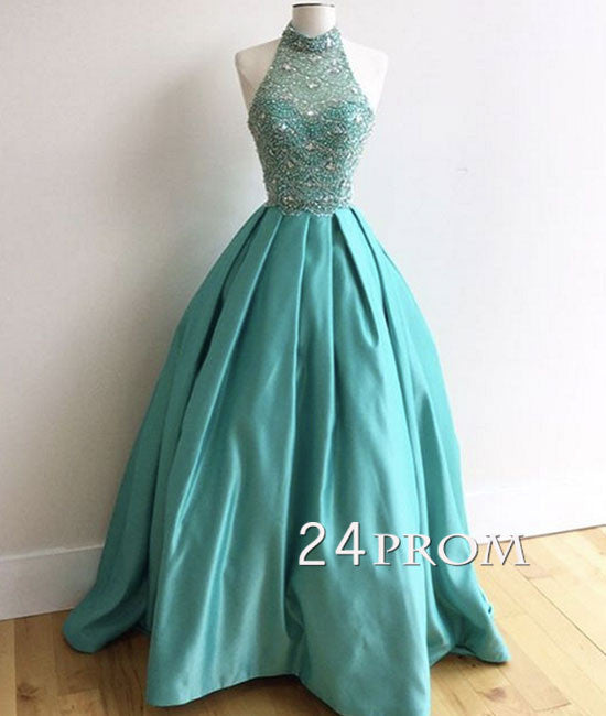 Green high neck sequin satin long prom dress, evening dress