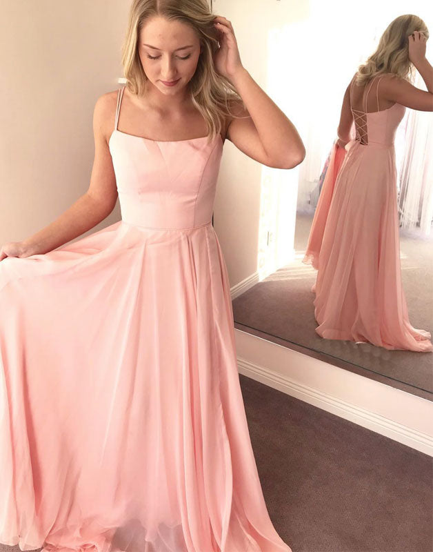 Simple pink chiffon long prom dress, pink evening dress