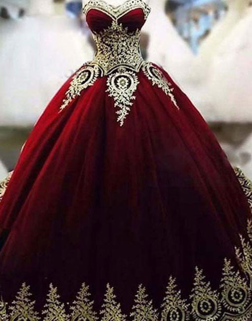 Unique burgundy round neck gold lace applique long prom gown