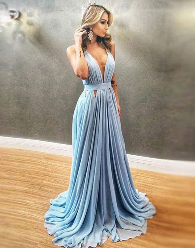Simple blue chiffon long prom dress, blue bridesmaid dress