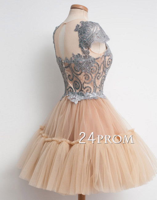 Cute Hight neck lace tulle ball gown short prom dress, homecoming dress