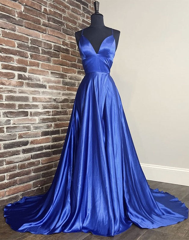 Simple blue v neck satin long prom dress blue long formal dress