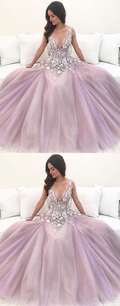 Pink v neck tulle lace long prom dress pink tulle lace evening dress