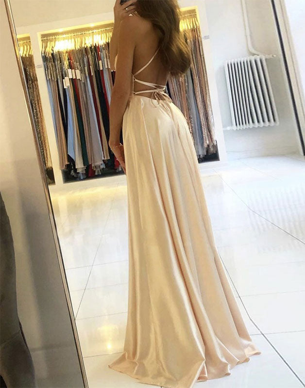 Simple champagne satin long prom dress champagne formal dress