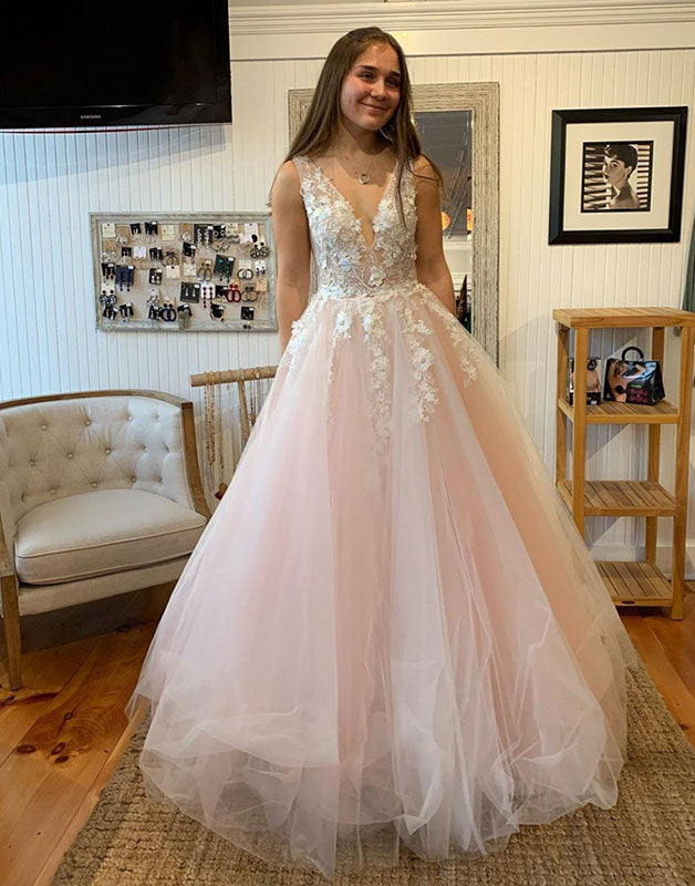Pink v neck tulle lace long prom dress pink lace formal dress