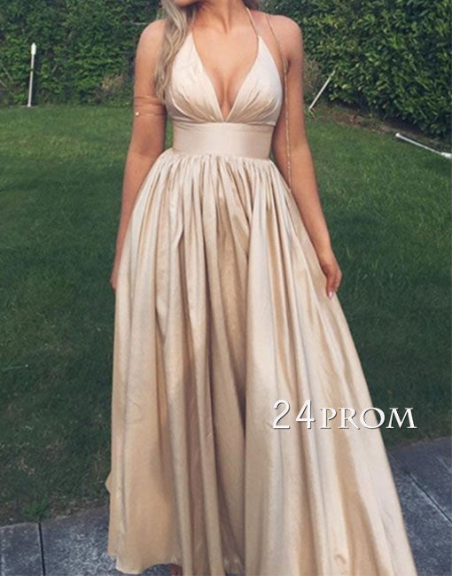 Champagne simple v neck long prom dress, champagne evening dress